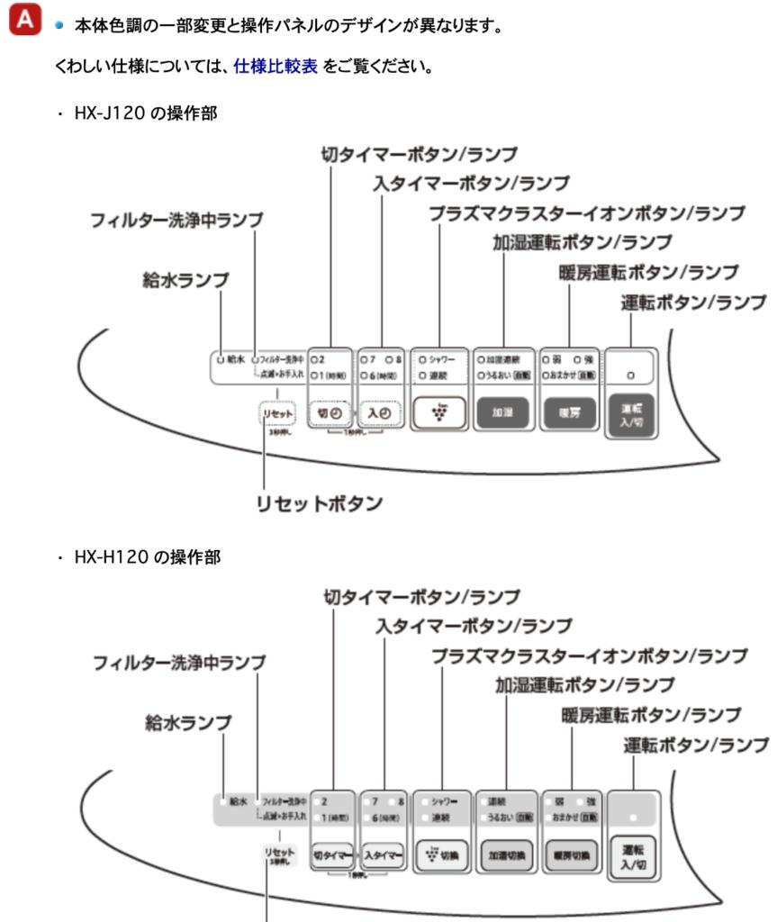 HX-J120とHX-H120のボタンデザイン
